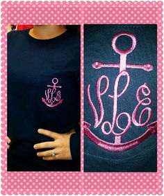 Navy Shirt With Pink Anchor Monogram Pocket Tee. $16.00, via Etsy.