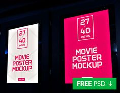 Free movie poster mockup psd