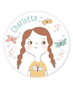 Another great find on #zulily! Brown Braids Girl Personalized Plate by sarah + abraham #zulilyfinds