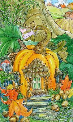 """Storybook Cottage Series Fairy Pumpkin Cottage"" original fine art by Alida Akers"