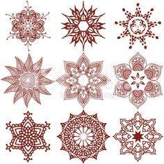 Mehndi Snowflakes royalty-free stock vector art
