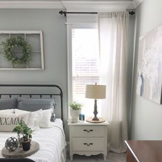 Master Bedroom details and my barn and willow window treatments