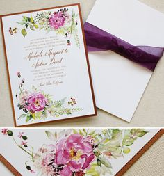 pink-floral-wedding-stationery  #watercolorweddinginvite #momentaldesigns