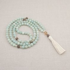 Amazonite 108 Mala Necklace - Creativity & Patience - Meditation Beads - Yoga Mala Beads - Item # 801 by GoldenLotusMala on Etsy https://www.etsy.com/listing/158153563/amazonite-108-mala-necklace-creativity
