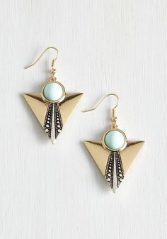 Frill it Up Earrings in Mint. Accent your ensemble with ample adornments like these art-deco-inspired earrings! #mint #modcloth