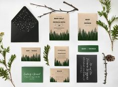 09. SAMPLE Pine mountain tree forest wedding invitation, winter rustic wedding invitations cards, watercolor pine forest invitation  ♥ PURCHASE THIS LISTING TO RECEIVE A SAMPLE SET ♥  The sample sets are available so that you can fully appreciate the high quality materials used and
