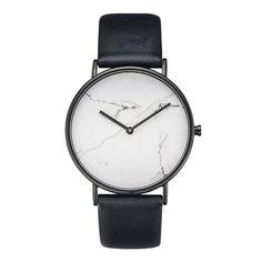s Simple Style Black White Marble Stripe Quartz Leather Vintage WristWatch Genuine Calf Leather Details