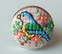 Blue Bird and Flowers Ring Hand Sewn in Cross Stitch by MaMagasin, £18.00