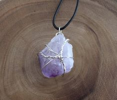 One-Of-A-Kind natural raw amethyst gemstone wire-wrapped pendant on an adjustable long black leather rope necklace! Wire Necklace, Choker Necklaces, Men Necklace, Gemstone Necklace, Pendant Necklace, Amethyst Pendant, Amethyst Stone, Bohemian Jewelry, Jewelry Art