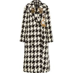 Dolce & Gabbana Oversized appliquéd houndstooth wool-blend tweed coat ($5,140) ❤ liked on Polyvore featuring outerwear, coats, jackets, oversized coat, dolce gabbana coat, hounds tooth coat, sequin coat and tweed coat