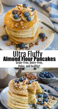 41 Unbelievably Delicious Almond Flour Recipes Almond Flour Paleo Pancakes - grain-free, refined sugar-free, dairy-free, and healthy! These perfectly fluffy pancakes are made easily in your blender Paleo Pancakes Almond Flour, No Flour Pancakes, Almond Flour Recipes, Fluffy Pancakes, Keto Pancakes, Blueberry Pancakes, Paleo Bread, Paleo Pizza, Gluten Free Pancakes