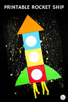 Printable Rocket Ship for Kids - Children can trace, cut and stick the simple shapes to create a rocket ship. Great for fine motor skills and shape play Space Crafts For Kids, Crafts For Kids To Make, Kids Crafts, Art For Kids, Kindergarten Crafts, Preschool Crafts, Rocket Ship Craft, Shape Crafts, Crafty Kids