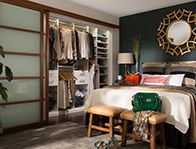 Upgrade your home with a beautiful custom closet designed for two. An open plan lets you see your entire wardrobe at a glance, inspiring new combinations of clothes and accessories. Designed with his and hers zones, it features shelves, hanging rods, drawers, a tall tower for shoes, and a sturdy wire basket for each of you. Custom sizing makes smart use of storage within limited spaces.  Visit www.EasyClosets.com for more master bedroom closet ideas.