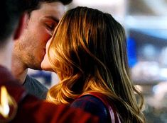 Kara & Mon-El kissing in STAR Labs (in front of Barry Allen!) is all kinds of superhero awesome. Plus, seeing Kara deal with issues & conflicts she can't punch/pretend don't exist, and Mon-El dealing with issues & conflicts he can't run away from/bury under humor? Even better! (gif from fyeahkaramel on tumblr) |TV Shows|CW|#Supergirl gifs|#The Flash|Season 3|3x17|Duet|Flash/Supergirl musical crossover|Kara x Mon-El|#Karamel kiss gif|Kara Danvers|Melissa Benoist|Chris Wood|#DCTV|