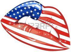 Banderas de los EE.UU. en los labios sensualidad