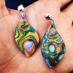 Orecchini con a foglia in Fimo - Mokume Gane verde smeraldo : Orecchini di bidibijoux