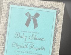 Teal & Silver Country Burlap Baby Shower by InvitationSnob on Etsy, $21.50