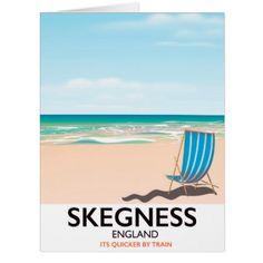 skegness vintage train travel poster. card - holidays diy custom design cyo holiday family
