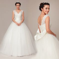 V-neck Ball Gown pretty bridal gown