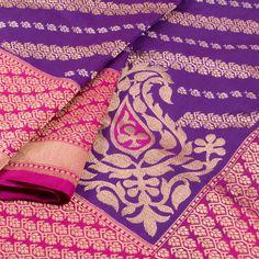 Handwoven Purple Banarasi Katrua Katan Silk Saree With Diagonal Floral Motifs 10018413