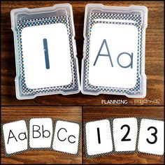 Letter and Number Flash Cards Kindergarten Flash Cards, Kindergarten Learning, Number Activities, Letter Activities, Photo Boxes, Letter Formation, Letter Recognition, Elementary Math, Classroom Organization