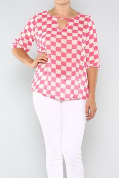 Pink and White Patterned Top