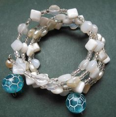 Memory Wire White repurposed Beaded Bracelet by RedRadishStudio, $14.95 Repurposed, Wire, Beaded Bracelets, Charmed, Memories, Jewellery, Studio, Handmade, Hand Made