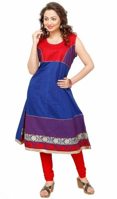 Don your chic look draping in this blue shade cotton sleeveless tunic. This charming attire is displaying some fantastic embroidery done with lace and resham work. #LatestClassicalKurtis
