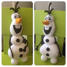 DIY sock Olaf. Felt eyes, coal buttons, hair, nose, mouth, and arms. As well, the arms and hair have pipe cleaners inside to create a support system and movability. My own pattern.
