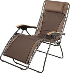 "For those that need a little extra cushioning, our XLZero-Gravity Padded Lounger locks into a sitting or reclining position. The padded 600-denier polyester dual-layer seat delivers the ultimate in comfort and durability. 44""H x 30""W x 22""D.  Seat ht:  23"".  Wt. capacity:  300 lbs.  Color:  Brown."