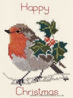 Holly & Robin Christmas Greetings Card Cross Stitch Kit from Derwentwater Designs