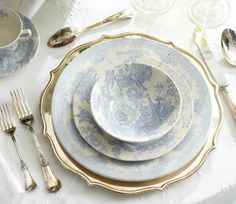 ralph lauren table setting in sky blue