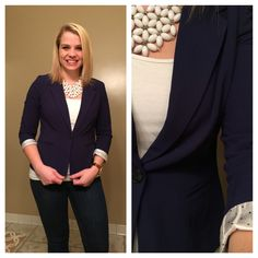 Kensie Rebekah Stretch Crepe Blazer from Stitch Fix #2--I really like this blazer! The color is great and the fit was perfect! I wore it today and got a ton of compliments, especially on the polka dot details. Kept it!