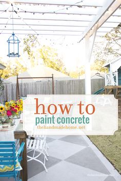 Back Porch? DIY Paint Projects: Turn a boring concrete patio into something fabulous by painting it with a beautiful design. Not only will it look great, but it could also improve the value of your home. How to Paint Concrete Handmade Home, Outdoor Spaces, Outdoor Living, Outdoor Decor, Outdoor Kitchens, Outdoor Projects, Home Projects, Concrete Slab Patio, Concrete Floors