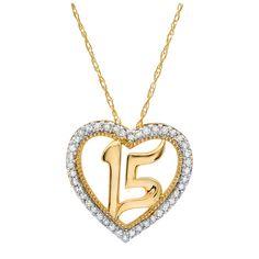 10k Yellow Gold Quinceañera Heart Pendant .15CTW. Quinceanera Jewelry.