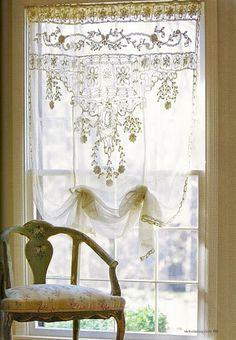pretty lace window treatment