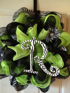 Lime Green & Black Zebra Wreath by DazzlinDoorzbyKristi on Etsy, $60.00