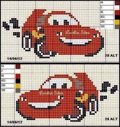 Disney cars mc queen intarsia уроки вязания kanaviçe, battaniye и havlular. Cross Stitch For Kids, Mini Cross Stitch, Cross Stitch Charts, Cross Stitch Designs, Cross Stitch Patterns, Knitting Charts, Knitting Stitches, Baby Knitting, Cross Stitching