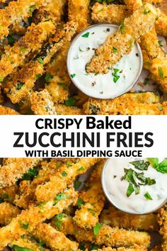 These easy oven baked Zucchini Fries with Parmesan and Panko are just as crisp as fried fries for a fraction of the calories! A healthy, kid-friendly side dish or appetizer. Serve them with a basil yogurt dip, marinara sauce, or enjoy them all on their own. via @wellplated Baked Zucchini Parmesan, Fried Zucchini Recipes, Zucchini Side Dishes, Vegetable Side Dishes, Baked Zuchinni Fries, Veggie Recipes Sides, Vegetable Recipes, Healthy Snacks, Healthy Recipes