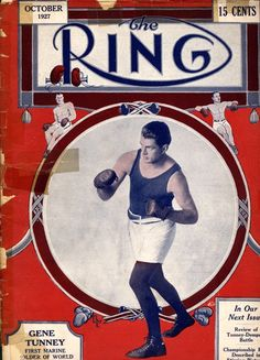 Vintage Boxing Art – Gene Tunney on Ring Magazine a former Marine.