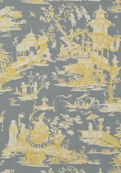 CHENG TOILE, Yellow and Grey, T75470, Collection Dynasty from Thibaut