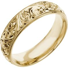 Hand Engraved 6mm 14k Yellow Gold Comfort fit Wedding Band. Lifetime Warranty. Inside Engraving Available in sizes 6-14