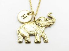 Elephant Necklace, Gold Elephant Charm, Initial Necklace, Personalized Stamped Initial, Nature and Animals Necklace, Monogram Necklace Z034