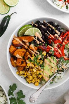 This sweet potato black bean burrito bowl is an easy vegan dinner recipe that is perfect for meal prep! It's loaded with fresh flavor, spicy tahini dressing, cilantro lime rice and roasted veggies for the perfect vegan buddha bowl. Easy Vegan Dinner, Vegan Dinner Recipes, Vegan Dinners, Veggie Recipes, Whole Food Recipes, Vegetarian Recipes, Veggie Bowl Recipe, Burrito Recipes, Easy Veggie Meals