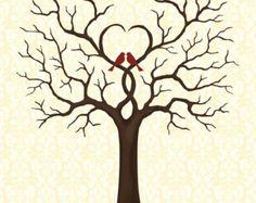 Wedding Tree Guest Book Love Birds Guest Book by CustombyBernolli