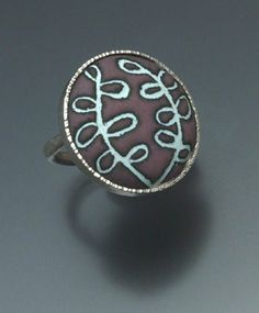 Ring | Angela Gerhard.  Sterling silver and Enamel