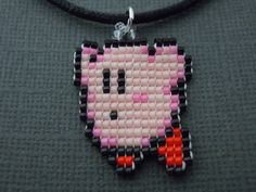 Handmade Seed Bead Flying Kirby Necklace by Pixelosis on Etsy, $15.00