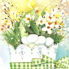 Minna Immonen, Pääsiäinen Diy Painting, Happy Easter, Illustrations, Table Decorations, Spring, Art, Watercolour Paintings, Beautiful Images, S Pic