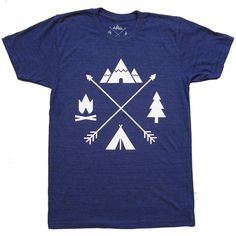 Arrows T-Shirt (Men's), campfire, tent, mountains, trees, Colorado, blue