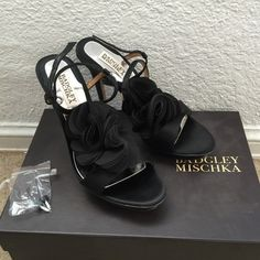 Black chiffon Pom Pom straps satin sandals heels New with box. Purchased at Neiman Marcus. Comes with extra set of heel tips. NO TRADES!!! Badgley Mischka Shoes Heels